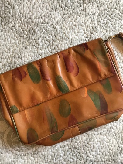 JJ Winters Vintage Rare Handpainted Leather Brown Clutch Image 4