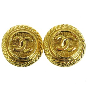 Chanel Authentic CHANEL CC Logo Earrings Gold-Tone Clip-On France Accessory