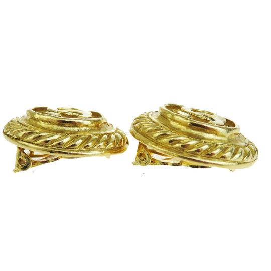 Chanel Authentic CHANEL CC Logo Earrings Gold-Tone Clip-On France Accessory Image 3