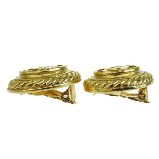 Chanel Authentic CHANEL CC Logo Earrings Gold-Tone Clip-On France Accessory Image 4