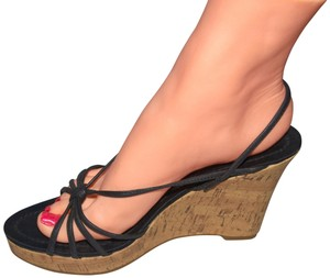Fioni Sexy Sexy Wedges Wedges Cork Wedges Black Sandals