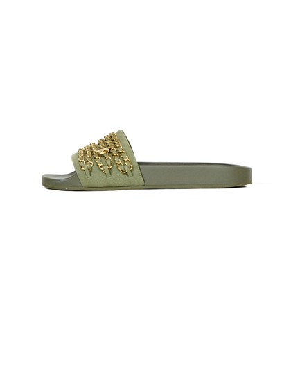 Preload https://img-static.tradesy.com/item/25965687/chanel-olive-green-gold-w-greengold-canvas-chain-slide-w-cc-sandals-size-eu-39-approx-us-9-regular-m-0-0-540-540.jpg
