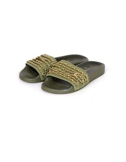 Chanel Chiffon Canvas Rubber Olive green, gold Sandals Image 1