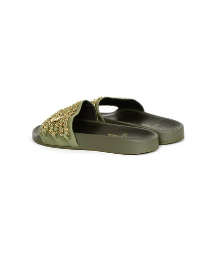 Chanel Chiffon Canvas Rubber Olive green, gold Sandals Image 2
