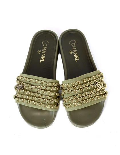 Chanel Chiffon Canvas Rubber Olive green, gold Sandals Image 3