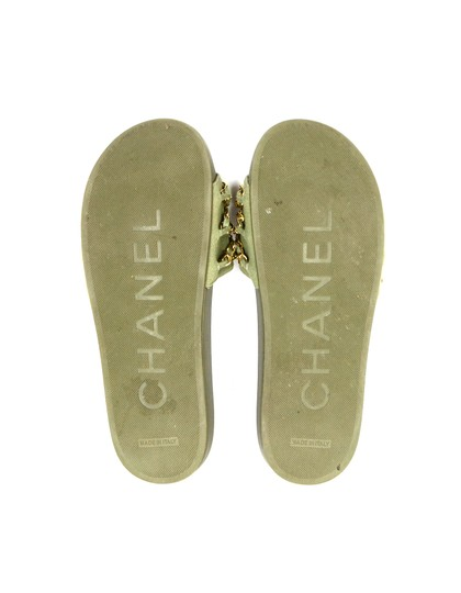 Chanel Chiffon Canvas Rubber Olive green, gold Sandals Image 4