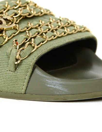 Chanel Chiffon Canvas Rubber Olive green, gold Sandals Image 6