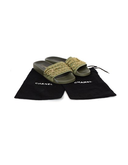 Chanel Chiffon Canvas Rubber Olive green, gold Sandals Image 7