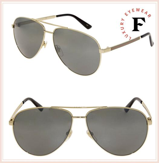 Gucci WEB 0137 Gold Aviator Metal Silver Mirrored GG0137S Unisex 2281 Image 2