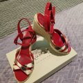 Burberry Burberry plaid with red patent trim Wedges
