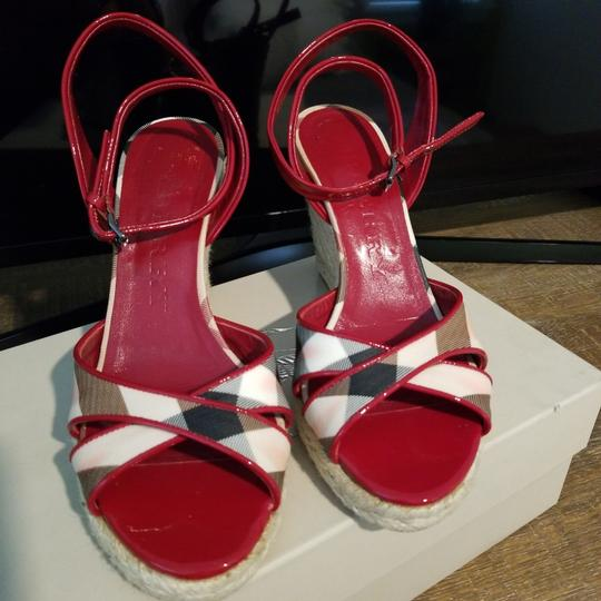 Burberry Burberry plaid with red patent trim Wedges Image 1