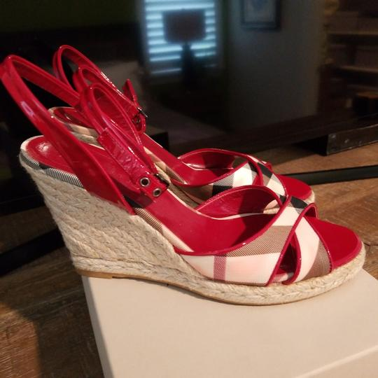 Burberry Burberry plaid with red patent trim Wedges Image 2