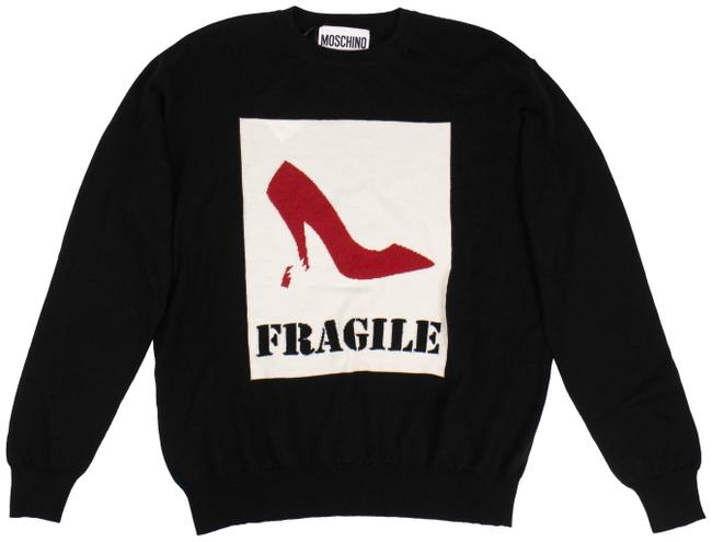 Item - Graphic 'fragile' Knit Black Sweater