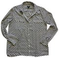 Ann Taylor Button Down Shirt White with Black and Yellow Image 0