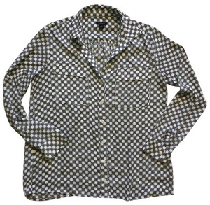 Ann Taylor Button Down Shirt White with Black and Yellow