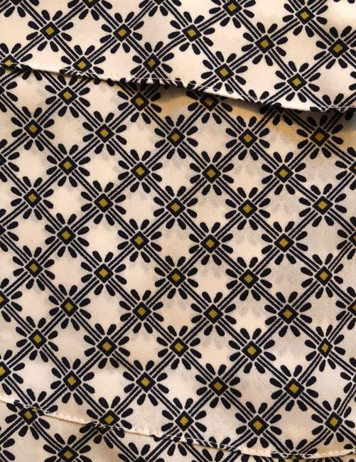 Ann Taylor Button Down Shirt White with Black and Yellow Image 4