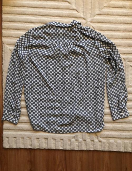 Ann Taylor Button Down Shirt White with Black and Yellow Image 7