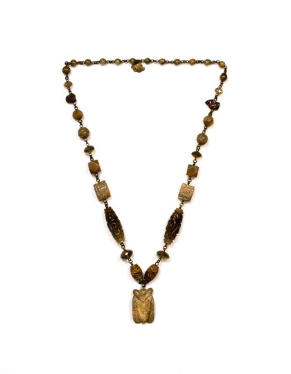 Stephen Dweck Stephen Dweck Smoky Quartz Agate and Jade Necklace w/ Carved Pendant Image 2