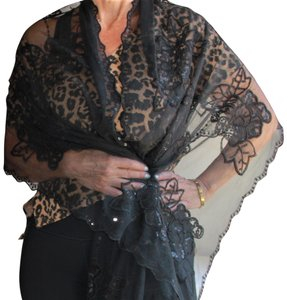 Unbranded Gorgeous Black Sequin Tulle Fringe Wrap