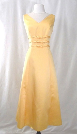 Alexia Designs Yellow Satin Style 500 Formal Bridesmaid/Mob Dress Size 10 (M) Image 2