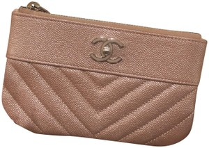Chanel 19P Chanel Iridescent Rose Gold Grained Lambskin Mini Zip O Case
