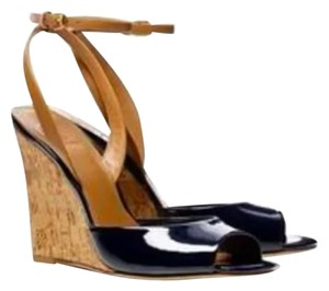 Tory Burch Sexy Leather Summer Pinup Black Wedges