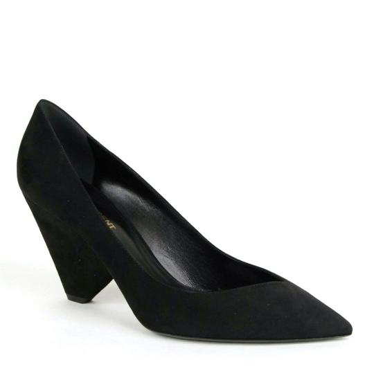 Saint Laurent Women's Suede Niki 85 Black Pumps Image 3