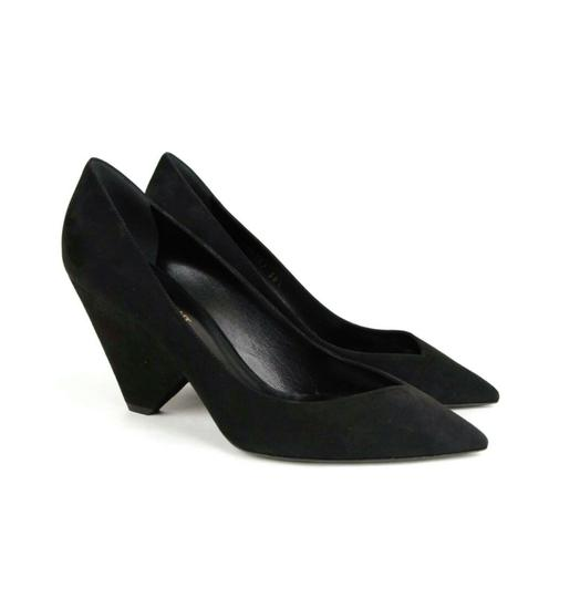 Saint Laurent Women's Suede Niki 85 Black Pumps Image 6