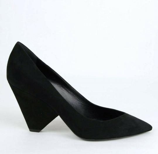 Saint Laurent Women's Suede Niki 85 Black Pumps Image 8