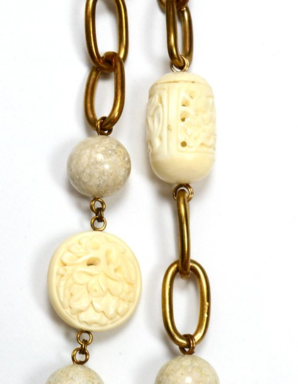 Stephen Dweck Stephen Dweck White Agate and Wood Chain Link 37
