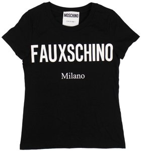 Moschino Summer Cotton Logo Graphics Sleeve T Shirt Black