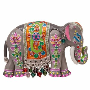 Ritzy Couture by Esme Hecht Multi Color Royal Elephant Charm Pin/Pendant (Silvertone)