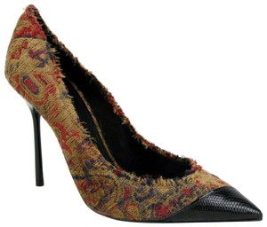 Saint Laurent Women's Marrakech Fabric Saffron Red Pumps