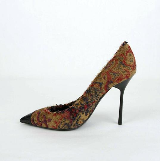 Saint Laurent Women's Marrakech Fabric Saffron Red Pumps Image 6