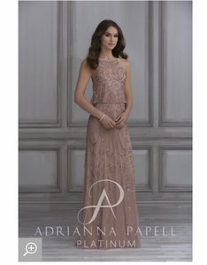Adrianna Papell Rose Gold Chiffon Formal Bridesmaid/Mob Dress Size 6 (S)