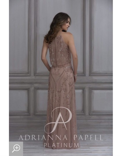 Adrianna Papell Rose Gold Chiffon Formal Bridesmaid/Mob Dress Size 6 (S) Image 1