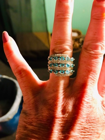 INDEPENDENT JEWELER BLUE ZIRCON AND WHITE TOPAZ RING Image 1