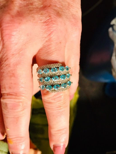 INDEPENDENT JEWELER BLUE ZIRCON AND WHITE TOPAZ RING Image 3