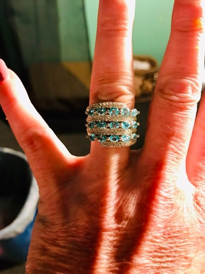INDEPENDENT JEWELER BLUE ZIRCON AND WHITE TOPAZ RING Image 4
