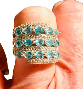 INDEPENDENT JEWELER BLUE ZIRCON AND WHITE TOPAZ RING