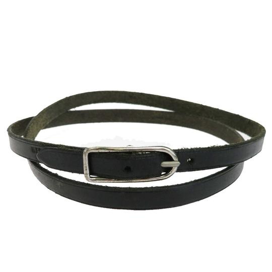 Hermès Authentic HERMES Logos Double Wrap Bracelet Necklace Leather Black Image 1