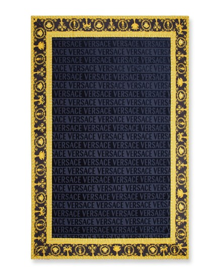 Versace Versace Logo Jacquard Beach Blue Towel With Baroque-Print Border Image 0