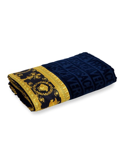 Versace Versace Logo Jacquard Beach Blue Towel With Baroque-Print Border Image 1