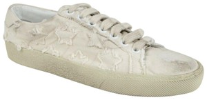 Saint Laurent Women's Light Blue Denim Studded Canvas Sneaker Dirty Beige Flats