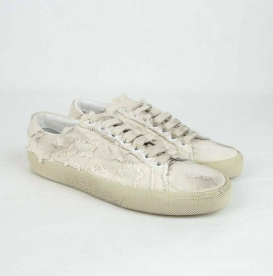 Saint Laurent Women's Light Blue Denim Studded Canvas Sneaker Dirty Beige Flats Image 3