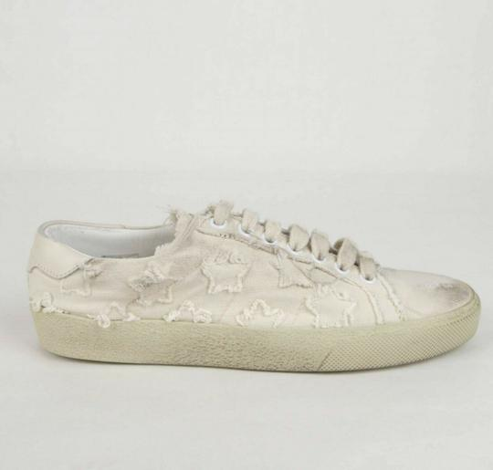 Saint Laurent Women's Light Blue Denim Studded Canvas Sneaker Dirty Beige Flats Image 5