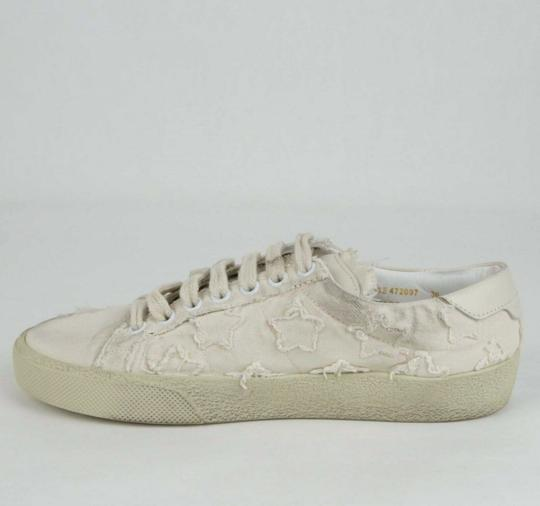 Saint Laurent Women's Light Blue Denim Studded Canvas Sneaker Dirty Beige Flats Image 6