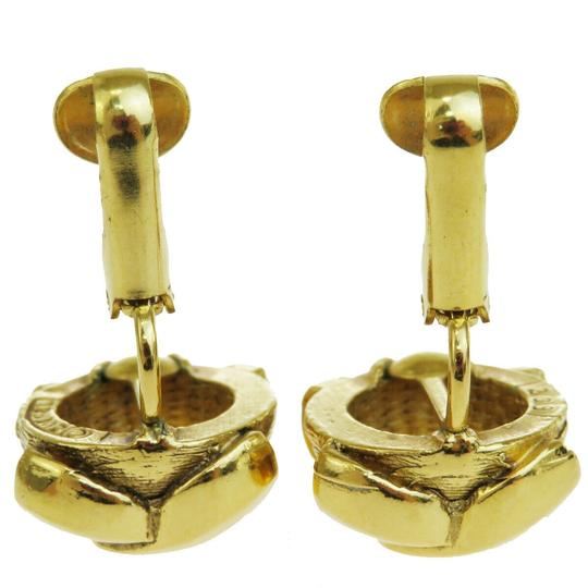 Chanel Authentic CHANEL CC Logo Earrings Clip-On Gold-Tone Accessory Vintage Image 3