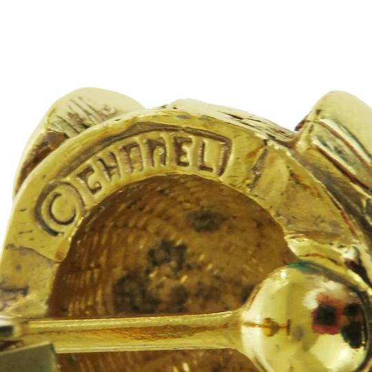 Chanel Authentic CHANEL CC Logo Earrings Clip-On Gold-Tone Accessory Vintage Image 8