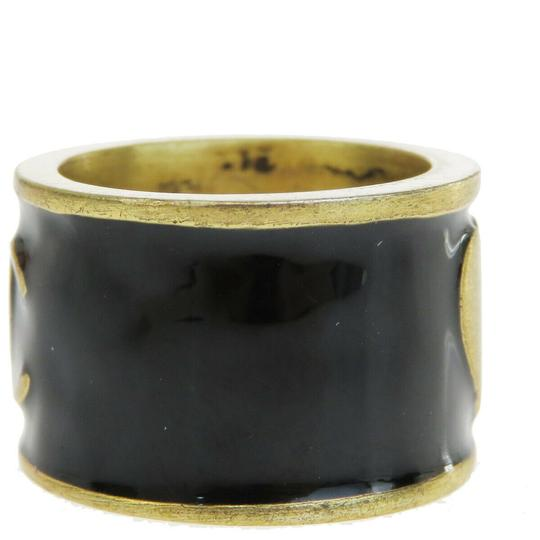 Chanel Authentic CHANEL CC Logo Heart Ring Gold-tone Black Image 2